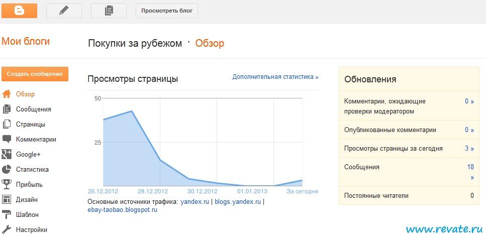 изменение интерфейса на blogger.com